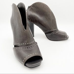 Franco Sarto Trend Brown Leather Open Toe Bootie